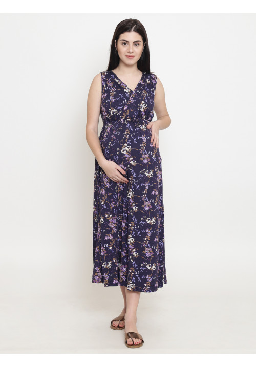 Tiara maternity wine color maxi dress