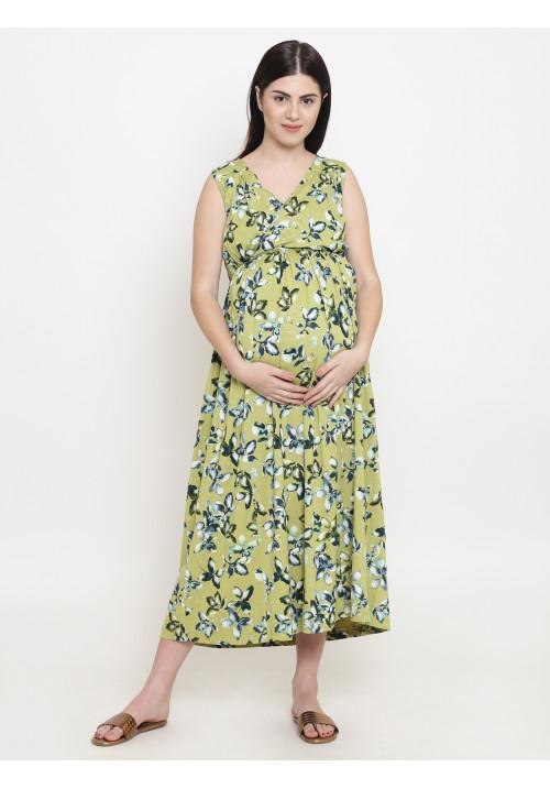 Blue Green Palm Long Maxi Dress
