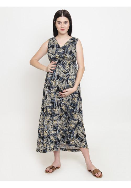 Tiara maternity yellow palm maxi dress
