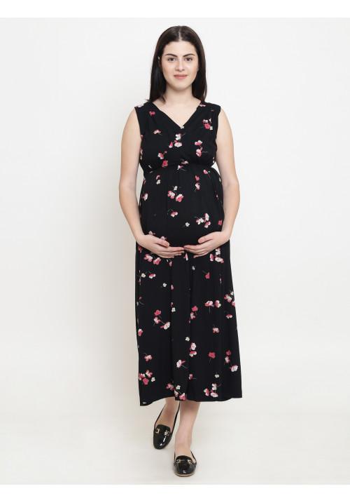 Tiara maternity pink rose on black maxi dress