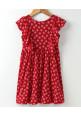 Tiara Small Flower Print Sleeveless Trim Dress - Red