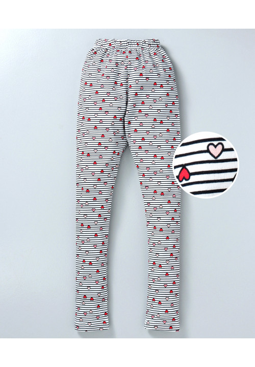Tiara Hearts Print Full Length Stretchable Leggings Little Red Heart