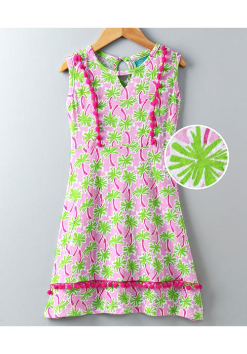 Tiara Palm Print Sleeveless Pom Pom Dress Green Palm