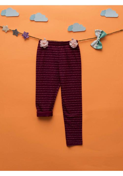 Tiara Printed Full Length Leggings - Maroon Lines